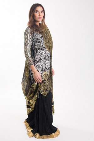 BLACK AND GOLD KAMEEZ
