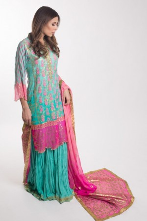 SEA GREEN AND PINK KAMEEZ
