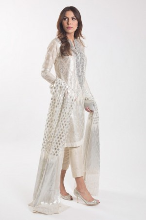IVORY AND SILVER KAMEEZ