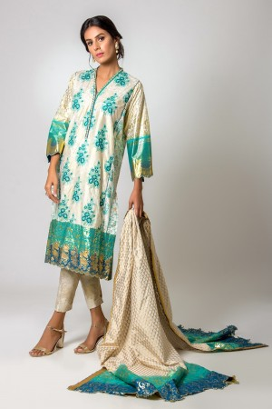 WHITE AND TEAL KURTA