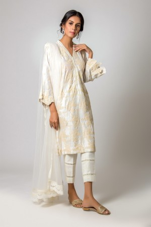 WHITE AND BEIGE EMBOSS KURTA