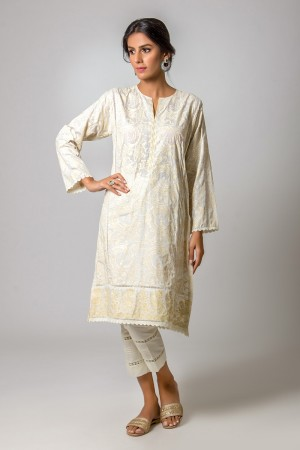 WHITE SWIRLY JAL KURTA