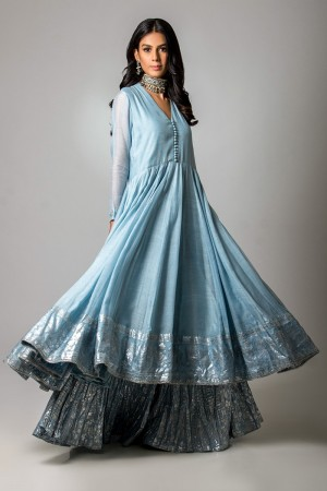 POWDER BLUE COTTON NET AND SILVER FOIL PESHWAAS