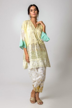 WHITE, YELLOW AND SEA GREEN GEORGETTE BOX CUT