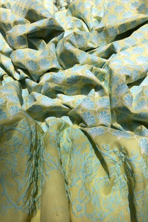 LIME YELLOW MALAI FLORAL GEOMETRIC ICEBLUE